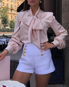 Tie Neck Long Sleeve Blouse🎀 So shop 🛍 now amazing exclusive outfits from 🦋 ✨ Dm us for any queries. ✨ Also tag us, comment us,like us and share us. Mode Outfits, Girly Outfits, Classy Outfits, Chic Outfits, Trendy Outfits, Fashion Outfits, Summer Outfits, Elegantes Outfit Frau, Vetement Fashion