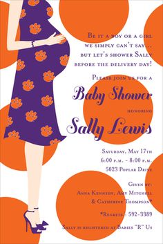 Clemson Paw Baby Shower Invitations