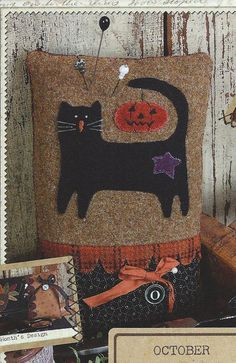 Primitive Folk Art Wool Applique Pinkeep Pattern: YEAR of the PINKEEPS - OCTOBER Cat