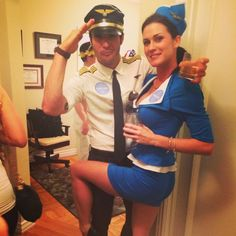 Pin for Later: 60 Sexy Halloween Couples Costume Ideas Pilot and Stewardess Flying high.
