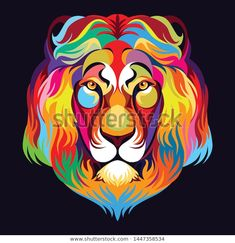 Find Colorful Lion Head Pop Art Style stock images in HD and millions of other royalty-free stock photos, illustrations and vectors in the Shutterstock collection. Thousands of new, high-quality pictures added every day. Lion Art, Colorful Animals, Arte Pop, Black Backgrounds, Lions, Vectors, Royalty Free Stock Photos, Lion Sculpture, Illustrations