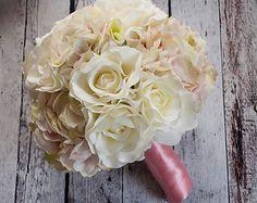 Wedding Bouquet Ivory Peony Rose Hydrangea Silk от KateSaidYes
