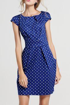 She's Blue Bowknot Polka Dot Dress