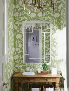 Bold Pattern like this pattern, color and the idea of a chandelier in the bathroom. like the geometric mirror idea, with the mirror being a metal that has an antiqued feel to it.  or a more ornate mirror that has a floral design around the border.