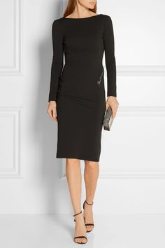 TOM FORD | Open-back zip-detailed stretch-crepe dress | NET-A-PORTER.COM