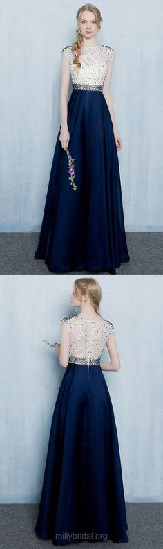 Royal Blue Prom Dresses Lace, 2018 Party Dresses Long, A-line Formal Dresses Cheap Scoop Neck, Silk-like Satin Evening Gowns Beading Sweet