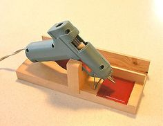 HOT GLUE GUN HOLDER & Stand, with Storage Slot & RED Glass tile, made in USA