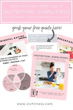 Simple nutrition tips for busy moms. Mindful eating, intuitive eating, more energy. Nutrition simplified for postpartum moms. Postpartum weight loss. FREE printable. Group Fitness, Health And Fitness Tips, Nutrition Tips, Health And Nutrition, Health Tips, Intuitive Eating, Mindful Eating, Weight Loss Tips, Fitness Fashion