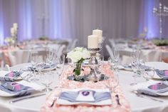 Reception Dinner Table Decor White Silver Pink Roses | The-Palms-Chico-California-Wedding-Photographer
