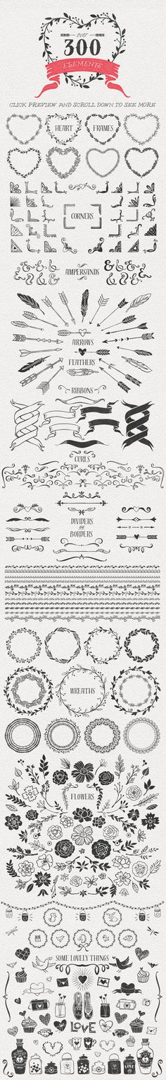 Hand Drawn Romantic Decoration Pack