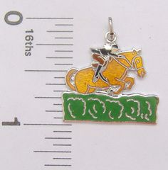 Charm Griffith Sterling Silver enamel EQUESTRIAN sports traditional horse rider #Griffith #Traditional