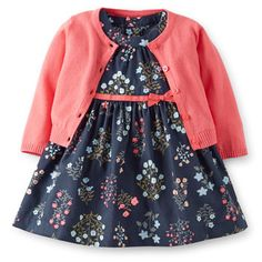 Poplin Floral Dress  Cardigan Set (Carter's nb-24m)