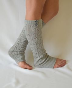 Machine knit grey leg warmers with button chunky leg by bstyle, $26.00