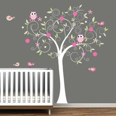 "style of tree we want painted in Marlaine's nursery. A small owl will sit on each branch with a family members name. Her grandma's Owls however; will be ""flying"" over her crib"