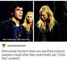 This is cute. #Bellarke #bobmorley #elizataylor #the100 (btw THANKS FOR 5.8K FOLLOWERS HOES!)