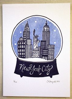 New York City Snowglobe State Series - Letterpress Print
