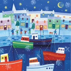 Winter Harbour by Alex Burnett Courtesy of Advocate Art. Please visit the website to see more charity cards and gifts http://www.shipwreckedmariners.org.uk/Home/SupportUs/CharityCardsAndGifts.aspx