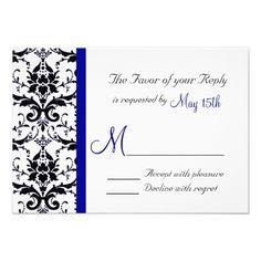 Elegant Damask Blue Stripe Wedding RSVP