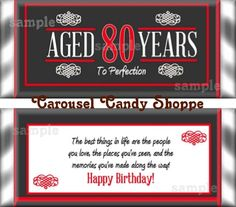 Items similar to Birthday Party Favors Hershey's Candy Bar Wrappers Red on Etsy 80th Birthday Party Favors, Dinner Party Favors, Candy Party Favors, Birthday Candy, Birthday Dinners, Dad Birthday, Birthday Celebration, Birthday Ideas, 80th Birthday Quotes