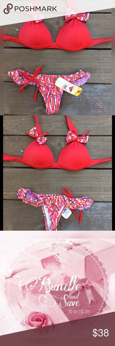 """Summer Brazilian Bikini ✔️Made in Brazil ✔Padded Top ✔️Tie  ✔️Lying flat measurements TOP  Bust (full length) 31"""" Cup 5-5'5"""" BOTTON Waist (adj.)12"""" +Crotch 7"""" Stretchy ✔️MATERIAL: 83% Polyamide 17% Elastane ❗️LYCRA XTRA LIFE❗️ This is a high quality garment made with XTRA Life Lycra fiber technology, that resists 10 times more to chlorine exposition compared to others elastanes without this treatment, resulting in superior durability and better fit.   ❗️Price is firm unless Bundled ❗️ Swim…"""