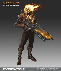 Overwatch's very own Soldier 76 in the form of Marvel's Ghost Rider Game Character Design, Character Design Inspiration, Character Concept, Character Art, Overwatch Skin Concepts, Ghost Rider Marvel, Heroes Of The Storm, Overwatch Fan Art, Superhero Design