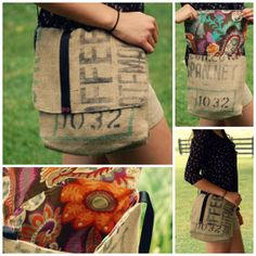 Burlap Hip Bag Handmade Out of Recycled Guatemalan Coffee Sack