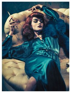 As Time Goes By – Photographer Sebastian Kim and fashion editor Katie Mossmann reunite once again for a story of vintage glamour in the October edition of Vogue Germany. Channeling the classic style of Rita Hayworth, Katharine Hepburn and Joan Crawford, Crystal Renn dons autumn looks from the likes of Balenciaga, Lanvin, Rick Owens and Miu Miu in the dark portraits. Multiple hair changes and makeup looks courtesy of Franco Gobbi and Lisa Houghton complete the enticing portraits. / Set Design…