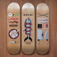 Planches de skateboard personnalisées à l'acrylique, qui devrait ravir les fans de sushis ! ;) http://fakirdesign.com