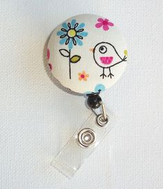 Retractable ID Badge Holder Reel   Fabric Button  Cute by Laa766, $6.25 chic / cute / preppy / teacher / student / laptop accessory / desk accessory / office decor / graduation / dorm / gift / coworker