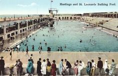 The Bathing Pool - St Leonards on Sea Victorian Bath House, Miami Pool, Hastings East Sussex, California Pools, Vintage Swim, Hotel Pool, Pool Designs, Old Photos, Swimming Pools