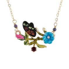 Les Néréides ORIENTAL ROSE BUTTERFLY ON A FLOWERED BRANCH SHORT... ($92) ❤ liked on Polyvore featuring jewelry, necklaces, jewelry necklaces, multicolor, multi color necklace, rose jewelry, red jewelry, flower necklaces and multi colored necklace