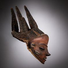 Jacaranda Tribal Upturned Nose, Tribal Art, Congo, Dance Costumes, Headdress, Masquerade, Textile Art, Art Gallery, Lion Sculpture