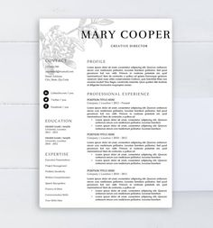 Creative Resume Template For Word  Pages    And  Page Resume