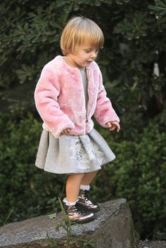 Elsy baby fall winter 2015 pink and grey outfit characterised by maxi floral patterns