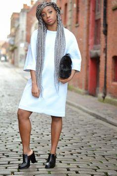 I love the powder blue colour of this dress. Grey Box Braids, White Girl Braids, Box Braid Hair, Girls Braids, White Girl Outfits, White Girls, Powder Blue Color, Dark Skin Girls, Funky Fashion