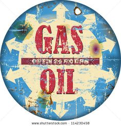 Vintage Gas Station Sign, Vector Illustration - 114230458 ...