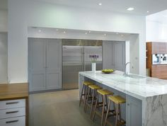 Love the Marble wrapping around the cabinets  Roundhouse kitchen materials - contemporary - Kitchen - London - Roundhouse