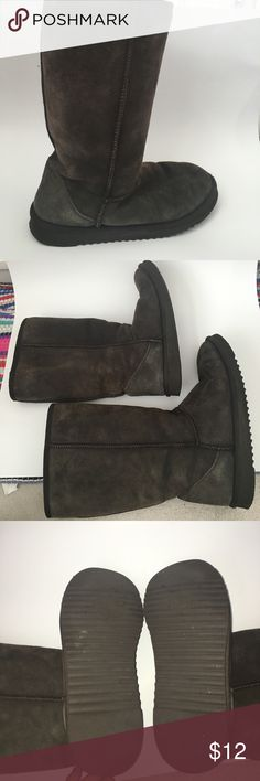 Used Dark Brown Fur Lined Flat Boots dark brown boots, for inside, used, size W 10 Shoes Winter & Rain Boots