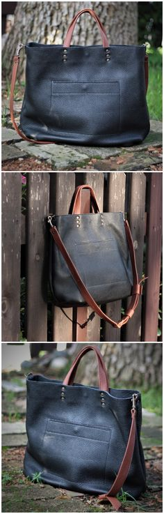 Black leather tote bag from DIStories