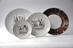 Hand-painted French Limoges Porcelain by Marie Daage ~ Collections: Coquillages, Panache. Colors:  Aubergine/Doré.