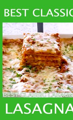 The Best Classic Lasagna Recipe - Traditional meat lasagna made with pasta, a homemade meat sauce, creamy ricotta mixture, and tons of cheese. Lasagna With Ricotta Cheese, Easy Lasagna Recipe With Ricotta, Lasagna No Meat Recipe, Lasagna Recipe Videos, Homemade Lasagna Recipes, Classic Lasagna Recipe, Homemade Meat Sauce, Pasta Recipes, Beef Recipes