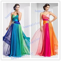 STOCK 2014 Colorful Chiffon Long Formal Evening Bridesmaid Party Prom Dresse