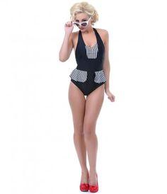 Black & White Striped Mazie Swimsuit