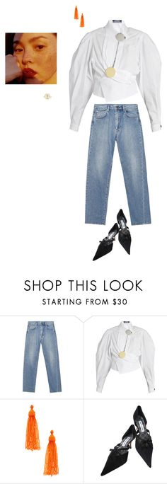 """""""wanna find it"""" by pieaah ❤ liked on Polyvore featuring Jacquemus, Kenneth Jay Lane, Manolo Blahnik and Pascale Monvoisin"""
