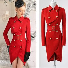 Red + Fitted Trench + Romance