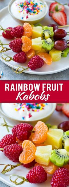 This recipe for fruit kabobs is a rainbow of fruit served on skewers with a yogurt dipping sauce. #YourKidHasGuts #ad (Fruity Dessert Recipes)