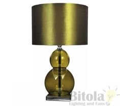 BOLLE-TABLE-LAMP-BEDSIDE-GREEN-SPHERE-GLASS-TRANSPARENT-BASE-ROUND-SHADE $69-