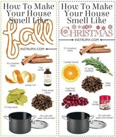 6 Stovetop Potpourri Recipes, DIY and Crafts, 6 Stovetop potpourri recipes for every season! Simmer in a pot or crockpot all day to make your house smell amazing! I love this idea for Christmas an. Household Cleaning Tips, House Cleaning Tips, Cleaning Hacks, Green Cleaning Recipes, Homemade Potpourri, Christmas Diy, Christmas Decorations, Christmas Smells, Homemade Christmas