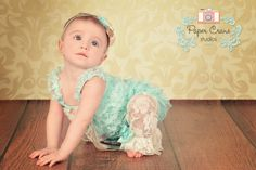 Aqua & Coral SET Petti Romper and Headband by butterflybabybands