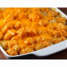 Tater tot and hot dog casserole.  Place tater tots in pan.  Cut hot dogs into bites and mix with tots. (use as many as you want. I like mine with lots) Add a can of fiesta nacho cheese soup and 1/2 can of water.  Optional to add a can of baked beans.  Top with shredded cheese and bake at 350 degrees for about 45 minutes. Serve with ketchup or salsa.